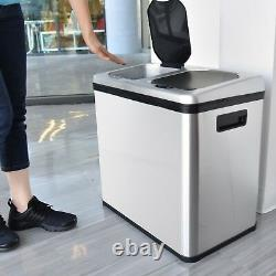 16 Gallon Motion Sensor Automatic Recycle Unit and Trash Can Home Kitchen