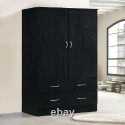 2 Door Bedroom Armoire With Drawers Wardrobe Clothes Organizer Black Finish