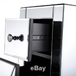 2-Drawer Mirrored End Table Accent Nightstand Cabinet Bedside Table New