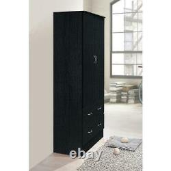 2-door armoire with 2-drawers in black wardrobe cabinet storage closet clothes