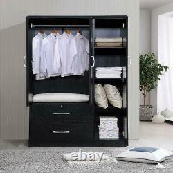 3 Door Bedroom Armoire With Drawers Wardrobe Clothes Organizer Black Finish