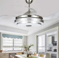 36/42 Bluetooth Invisible Ceiling Fan Light Music Player LED Chandelier+remote