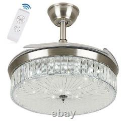 36/42 LED Invisible Ceiling Fan Light Retractable Blade Chandelier with Remote