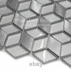 3D Silver Glass Square Mosaic Tiles Sheet For Walls Floors Bathrooms Kitchen