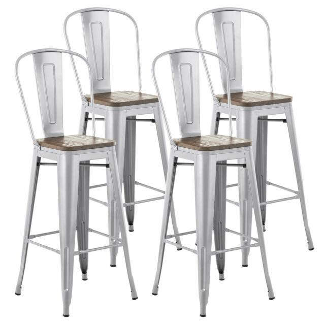 4 Pieces Metal Bar Stools Pub Chairs Stackable Home Dining Room Furniture Silver