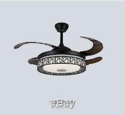 42 Bluetooth Invisible Music Ceiling Fan Lamp LED 3-Color Dimmer Chandelier