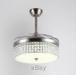 42 Crystal Ceiling Fan LED Chandelier Lighting Invisible Fan Remote Control