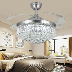 42'' Crystal Invisable Silver Ceiling Fan LED Lamp Lighting Remote Chandeliers