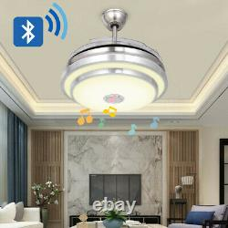 42 Crystal Invisible Ceiling Fan Light Remote Control Home Chandelier LED Lamp