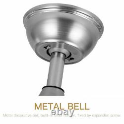 42 Crystal Invisible Silver Ceiling Fan Light Remote Control Chandelier Lamp