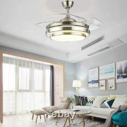 42 Dimmable Ceiling Fan Light Chandelier with LED Retractable Blades + Remote