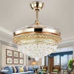 42 Gold Crystal Ceiling Fan Light LED Chandelier With Retractable Blades Remote
