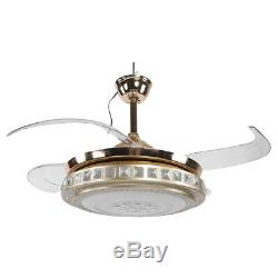 42 Invisible Ceiling Fan Lamp With Remote Control Dimmable LED Chandelier Light
