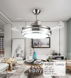 42 Invisible Ceiling Fan Light Dining Room Chandelier Lamp Remote Control LED