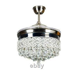 42 Invisible Ceiling Fan Light LED Crystal Chandelier Retractable Silver+Remote