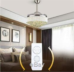 42 LED 36w Chandelier Crystal Living Room Invisible Ceiling Fan Light with Remote