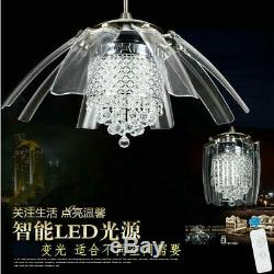 42 Luxury Crystal Ceiling Fan Light LED Chandelier with Invisible 8-Blades Remote