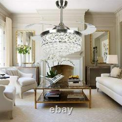 42 Luxury Remote Retractable Ceiling Fan Light Crystal LED 3-Color Chandeliers
