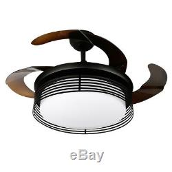42'' Modern Ceiling Fan Light LED Dimmable Remote Control Retractable Blade Lamp
