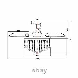 42 Modern Crystal Chandelier Ceiling Fan Lights with Remote Retractable 3 Blades