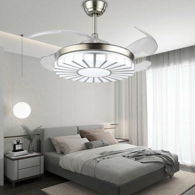 42 Modern Retractable Invisible Fan Chandelier With Led Light Remote Control Top