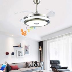42''Music Player Invisible Bluetooth Ceiling Fan Light LED Chandelier withRemote
