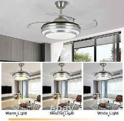 42 Retractable Ceiling Fan Light Lamp WithRemote Control Dimmable LED Chandelier
