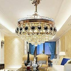 42Crystal Ceiling Fan Chandelier Invisible Blade Chandelier with Remote Control