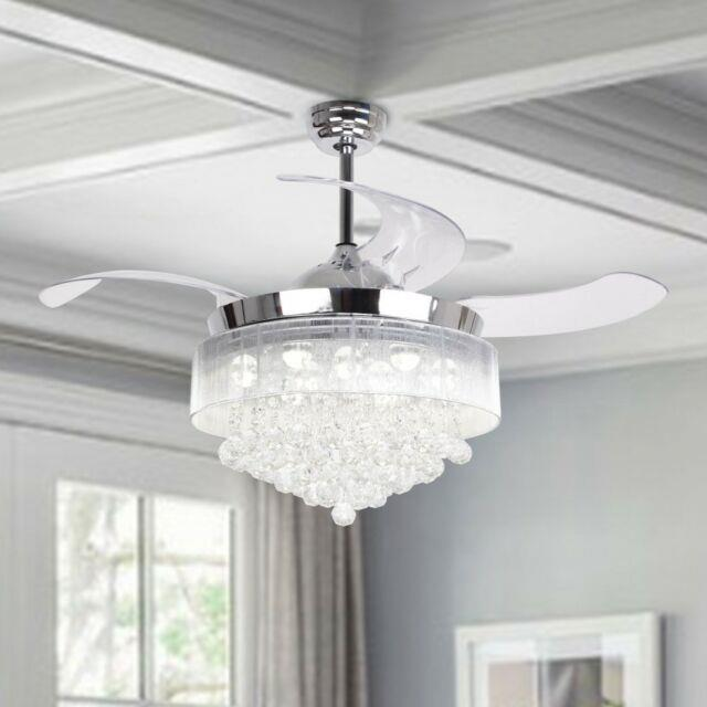 46 Ceiling Fan With Lights Modern Crystal Chandelier Fan With Retractable Blades