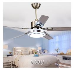 48/52 Modern Ceiling Fan Light Remote Control 5 Stainless Steel Blades Dimmable
