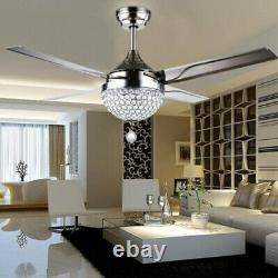 48 LED Ceiling Fan Light Crystal Chandelier Stainless steel Blades Remote US