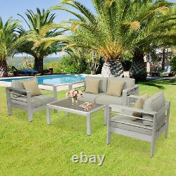4PC Outdoor Furniture Sofa Set Aluminum Patio Sectional Cushioned Couch withPillow