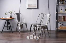 4pc Metal Dining Chairs Set Stackable Seat Side Chairs Indoor-Outdoor Furniture