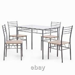 5-Piece Glass Metal Dining Table Set with 4 Upholstered Chair Kitchen Furniture
