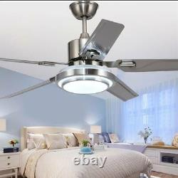 52'' Ceiling Fan Light 5 Stainless Steel Blades LED Fan Lamp withRemote Control US