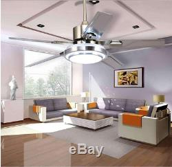 52 LED Ceiling Fan Light Chandelier with 5 Stainless Steel Blades Remote Control