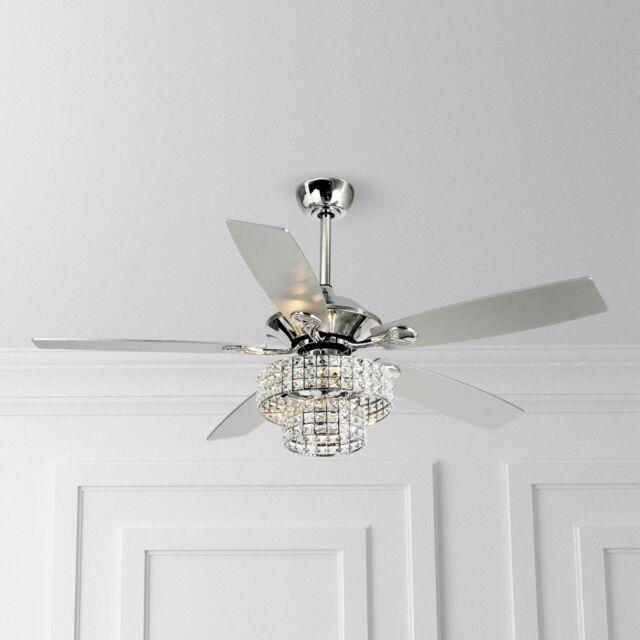 52 Modern Crystal Chandelier Ceiling Fan 4 Lights With Remote Reversible 5 Blade