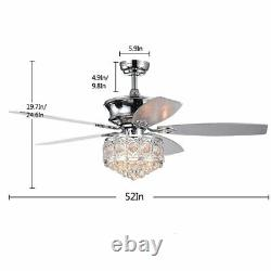 52 Modern LED Chandelier Crystal Ceiling Fan Light 5 Blades With Remote Control