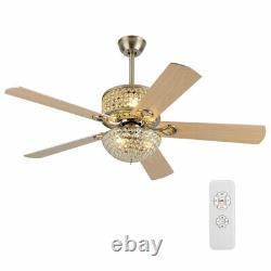 52 Silver Ceiling Fan Light Modern Crystal Chandelier Lamp WithRemote Control USA