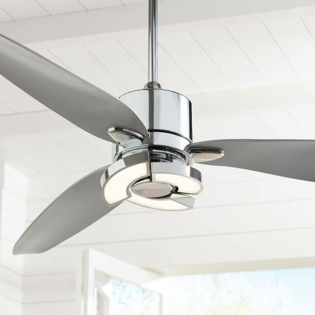 56 Modern Ceiling Fan With Light Led Chrome Curved Blades For Living Room