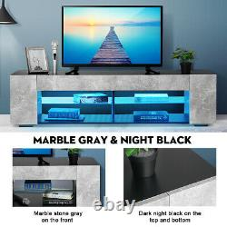 57'' Modern TV Stand Cabinet Unit with LED Light Entertainment Center for 65 TV