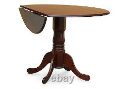 5pc dinette kitchen dining set round pedestal table with 4 padded chairs mahogany