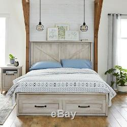 64L Modern Farmhouse Queen Platform Bed with Storage Drawers, Rustic White