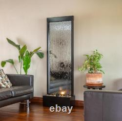 72 in. Tall indoor/outdoor mirror zen waterfall fountain with stones and light