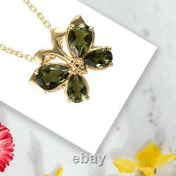 925 Sterling Silver Yellow Gold Over Moldavite Pendant Necklace Size 20 Ct 1.7