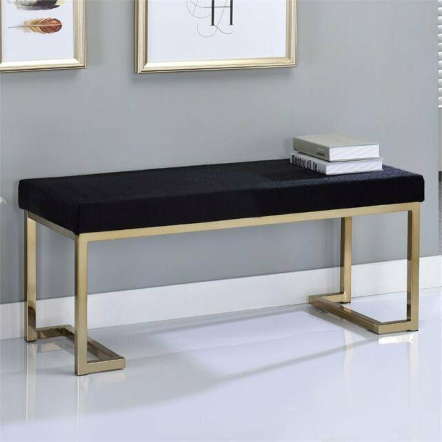 Acme Boice Bench In Black Fabric And Champagne