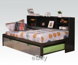 Acme Furniture 37225T Renell Twin Bed & Trundle, Silver & Black