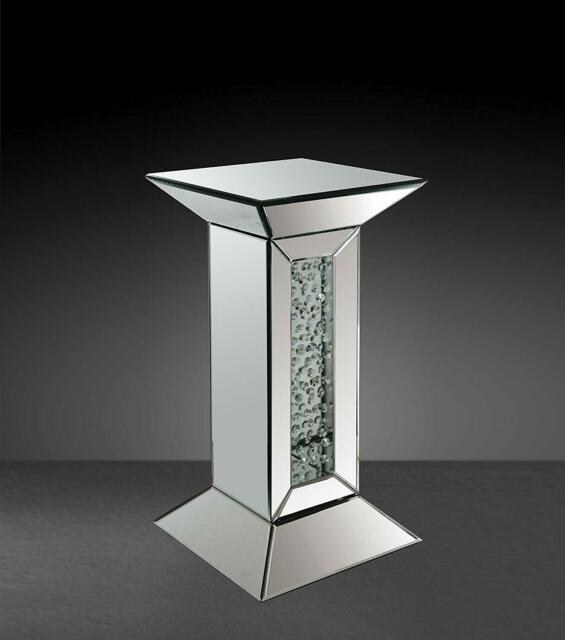 Acme Furniture Nysa Mirrored Pedestal Accent Table Mirrored Finish
