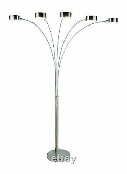 ArtivaUSA Modern 5 Steel Arched Floor Lamp with Rotatable Shade, Dimmer Switch