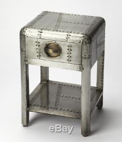 Aviator Airplane Industrial Hardware Restoration Aluminum Accent Side Table